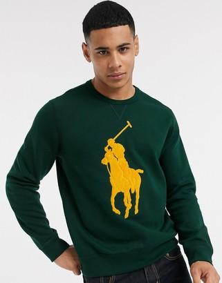 Polo Ralph Lauren sweatshirt in green with yellow towelling player logo