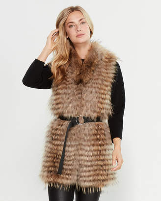 Intuition Paris Belted Real Fur Mixed Media Vest