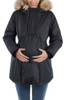 Women's Modern Eternity Sofia Waxed Shell Maternity Jacket With Faux Fur Trim