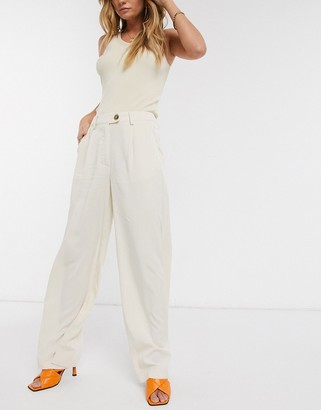 Object tailored wide leg trousers in beige