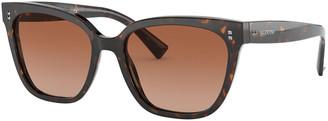 Valentino Square Acetate Sunglasses w/ Mini Rockstud Trim