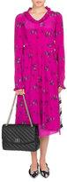 Balenciaga Ruffled Floral-Print Silk Dress