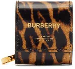 Burberry Leopard-print Patent-leather Earphone Case - Womens - Leopard