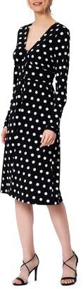 Leota Juliana Polka Dot Long Sleeve Midi Dress