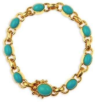 Elizabeth Locke 19K Yellow Gold & Sleeping Beauty Turquoise Link Bracelet