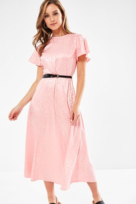 Iclothing Blake Animal Print Midi Dress in Pink
