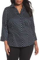 Foxcroft Plus Size Women's Taylor Polka Dot Wrinkle Free Shirt