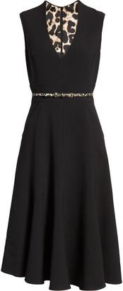 Eliza J Sleeveless V-Neck Belted Fit & Flare Midi Dress