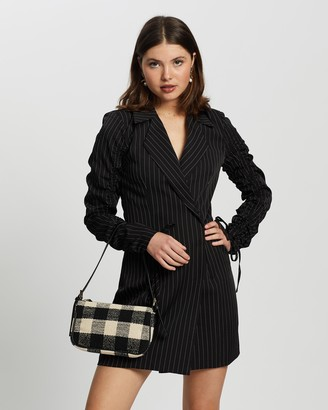 Missguided Women's Black Mini Dresses - Ruched Sleeve Blazer Dress - Size 12 at The Iconic