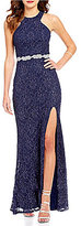 Jodi Kristopher High-Neck Cut-Out Back Glitter Lace Gown