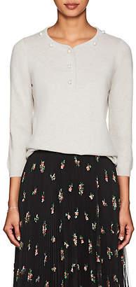 Barneys New York Women's Imitation-Pearl-Embellished Cashmere Sweater - Gray