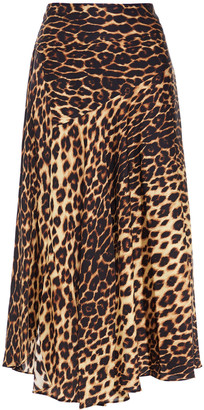A.L.C. Draped Leopard-print Silk-blend Satin Midi Skirt