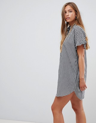 Gilli gingham shift dress with frill sleeve-Black