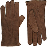 Barneys New York Men's Cashmere-Lined Suede Gloves-BROWN