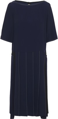 Marni Pleated Embroidered Crepe De Chine Dress