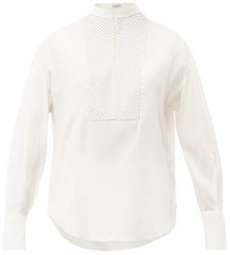 Brunello Cucinelli Beaded-yoke Silk-blend Blouse - Womens - Ivory