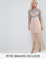 Frock And Frill Petite Floral Embroidered Mesh Maxi Dress With Gathered Cuff And Open Back Detail