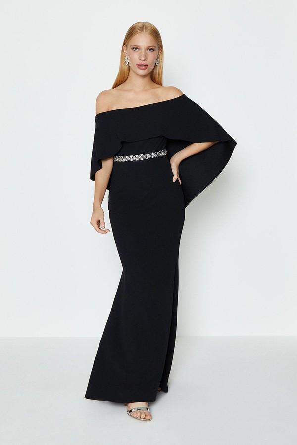 Coast Bardot Caped Maxi Dress