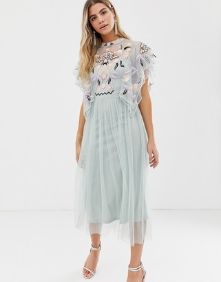Frock and Frill embroidered dobby mesh midaxi dress with scatter sequin in floral