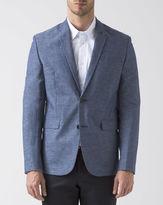 Ben Sherman Marled Blue Cotton Linen Jacket