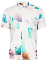 Topman Photo Print Spliced Short Sleeve Casual Shirt
