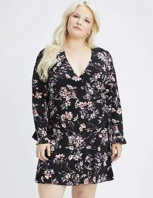 Lea & Viola Floral Long Ruffle Sleeve Wrap Dress in Black Size 1X - 18/20 Polyester