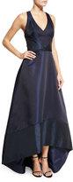Theia Sleeveless Metallic-Trim Taffeta High-Low Gown, Midnight
