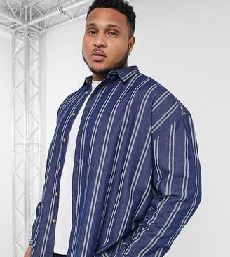 Asos DESIGN Plus 90s oversized denim stripe shirt