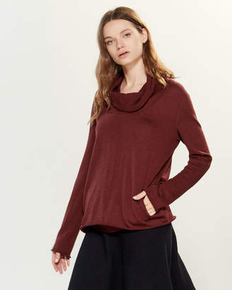 Hannes Roether Red Cowl Neck Long Sleeve Sweater