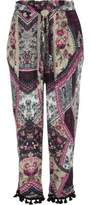River Island Womens Pink patchwork print tapered pants