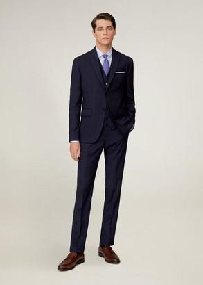 MANGO MAN - Slim fit check suit blazer dark navy - 36 - Men