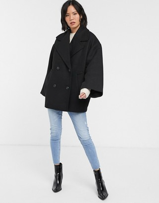 Monki double breasted coat-Black