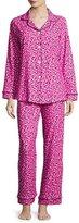 BedHead Demi-Ball Dotted Classic Pajama Set, Fuchsia/Black, Plus Size