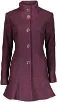 Kensie Plum Wool-Blend Flare Coat