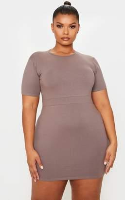PrettyLittleThing Plus Cream Cotton Waist Band Detail Bodycon Dress
