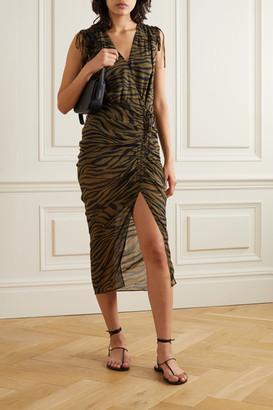 Veronica Beard Teagan Wrap-effect Ruched Zebra-print Silk Crepe De Chine Dress - Army green