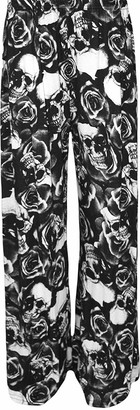 Candid Styles Womens Ladies Plus Size Wide Leg Palazzo Printed Baggy Flared Skater Trouser Pants 12-26