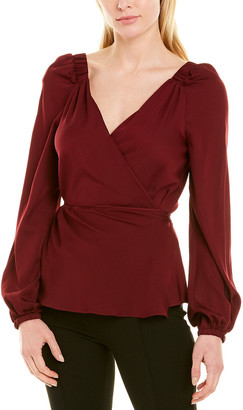 Milly Hallie Wrap Silk-Blend Top