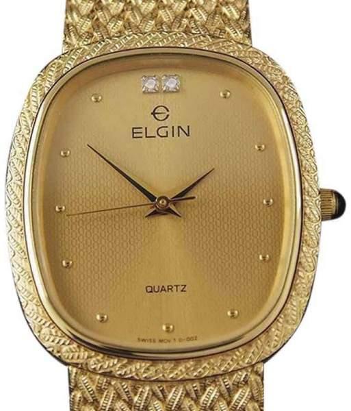 Elgin YY6 Gold Plated Quartz Vintage 28mm Mens Watch