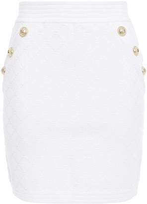 Balmain Button-embellished Jacquard-knit Mini Skirt