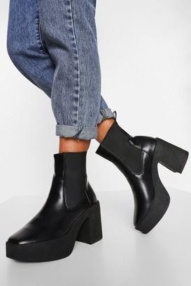boohoo Chunky Platform Block Heel Chelsea Boots