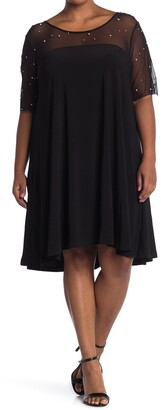 Nina Leonard Smocked Neck 3/4 Length Sleeve Dress
