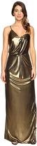 Halston Asymmetrical Strap Metallic Jersey Gown