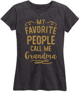 Instant Message Women's Women's Tee Shirts HEATHER - Heather Charcoal & Gold Glitter 'Call Me Grandma' Relaxed-Fit Tee - Women