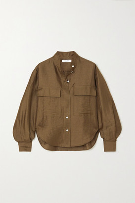 Frame Safari Linen-blend Shirt - Green