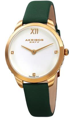Akribos XXIV Women's Leather & Silk Diamond Watch