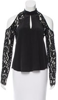 Nicole Miller Silk Lace Panel Blouse w/ Tags