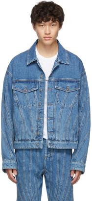 Thierry Mugler Blue Oversized Denim Spiral Jacket