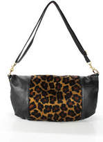Plinio Visona Black Leather Brown Faux Fur Large Hobo Handbag