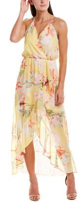 Lavender Brown Floral Faux Wrap Dress